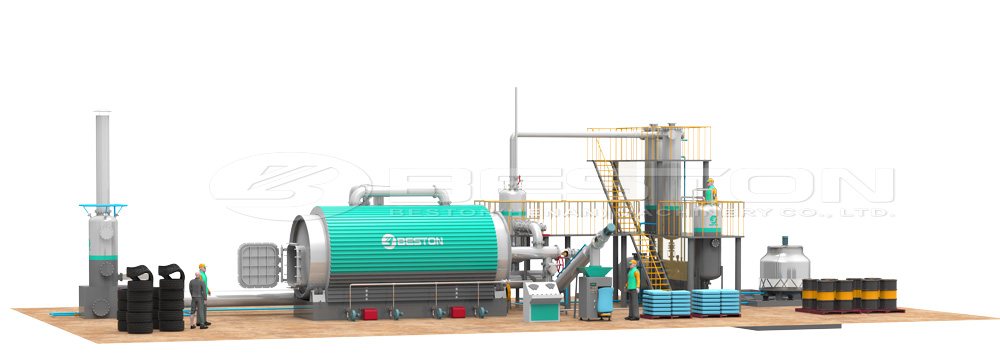 3D Drawing of Beston Waste Tyre Pyrolysis Oil Plant