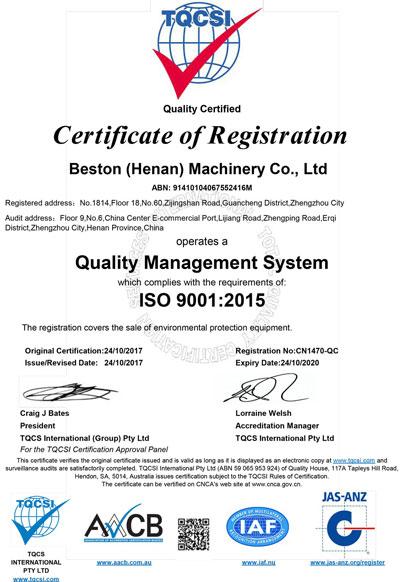 ISO9001 of Beston