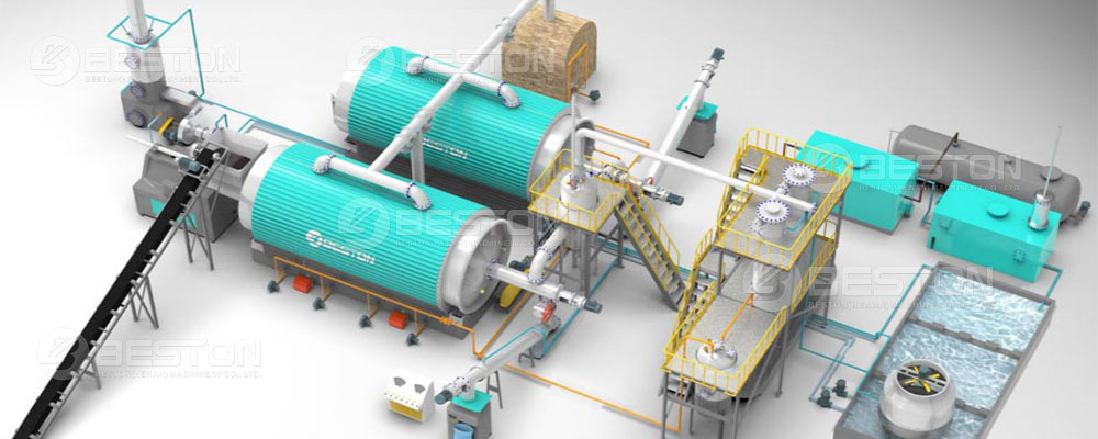 Waste Tyre Tyrolysis Plant 3D Model Diagram