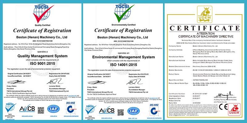 Certificates of Beston Machinery